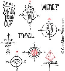 symbolika, ilustracje, podróż, wektor