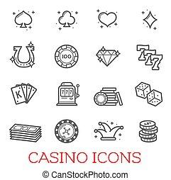 symbolika, kasyno, komplet, wektor