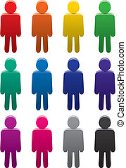 symbolika, komplet, barwny, ludzie