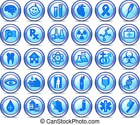 symbolika, komplet, ikony, medyczny, zbiór, 2, healthcare