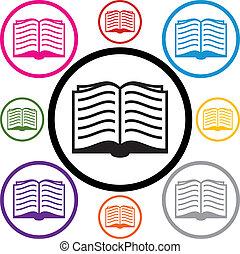 symbolika, komplet, książka, wektor