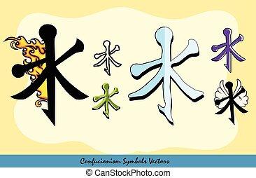 symbolika, komplet, różny, konfucjanizm