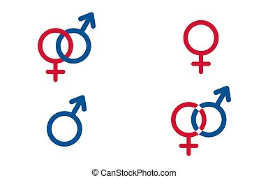 symbolika, komplet, tradycyjny, wektor, samica, samiec