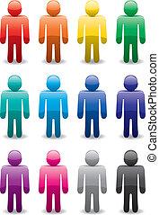 symbolika, komplet, wektor, barwny, człowiek