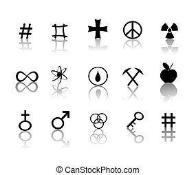 symbolika, komplet, znaki, ikony