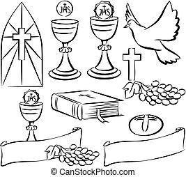 symbolika, komunia, wektor, -, święty