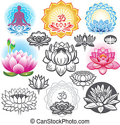 symbolika, lotosy, komplet, ezoteryczny
