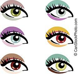 symbolika, oczy, komplet, wektor, makijaż