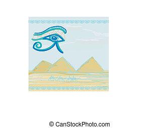 symbolika, oko, horus, wielbłąd, egipt, symbol, -, tradycyjny, piramidy, przód, sylwetka