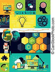 symbolika, płaski, infographic, projektować