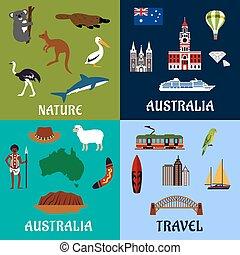 symbolika, płaski, podróż, australia, ikony
