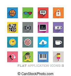 symbolika, płaski, projekty, ikona, &