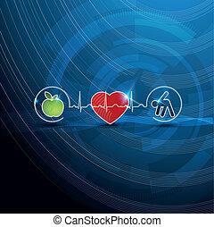 symbolika, pojęcie, kardiologia, zdrowy, jasny, żyjący