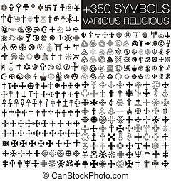 symbolika, różny, 350, wektor, religio