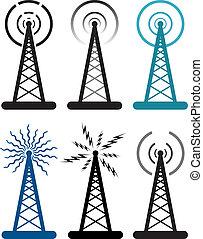 symbolika, radio wieża, wektor, projektować