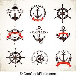 symbolika, rocznik wina, komplet, morski, ikony