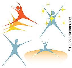 symbolika, swoosh, entuzjastyczny, komplet, ludzie