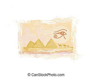 symbolika, sylwetka, symbol, tradycyjny, egipt, piramidy, -, wielbłąd, horus, oko, przód