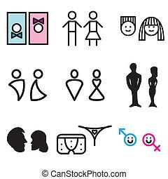 symbolika, toaleta, ręka, pociągnięty, ikony