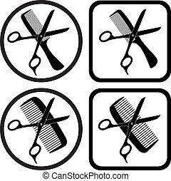 symbolika, wektor, fryzjer