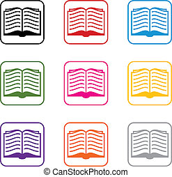symbolika, wektor, komplet, książka