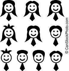 symbolika, wektor, samiec, samicza twarz