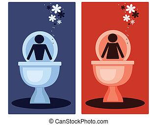 symbolika, wektor, toaleta