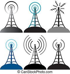 symbolika, wieża, wektor, radio