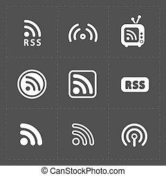 symbolika, znak, czarnoskóry, rss, nakarmić, icons., tło.