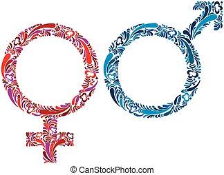 symbols., samiec, samica