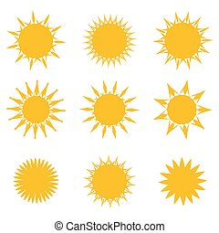 symbols., wektor, komplet, słońce