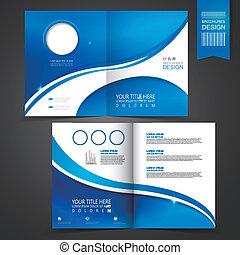 szablon, błękitny, broszura, projektować, reklama