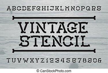 szablon, beletrystyka, zakłopotany, rocznik wina, numbers., tło., drewno, retro, font., alfabet