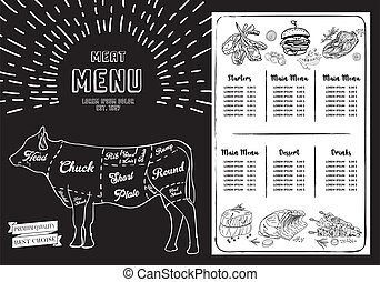 szablon, chalkboard., stek, menu, restauracja