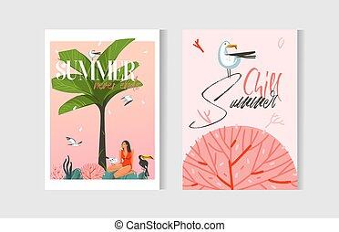 szablon, graficzny, rysunek, koral, zbiór, plaża, czas, odizolowany, biały, wektor, pociągnięty, marynarka, rafa, płaski, ręka abstrakcyjna, komplet, bilety, lato, tło, drzewo, ilustracje, ludzie