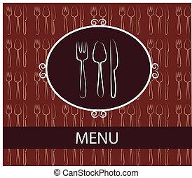 szablon, knife., menu, widelec, projektować, łyżka, restauracja