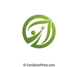 szablon, logo, drzewo, eco, liść