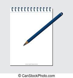 szablon, pencil., eps, notatki, biały, wektor, ilustracja, projekt techniczny przedsięwzięcia, 10, twój