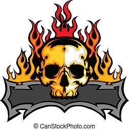 szablon, wektor, czaszka, płomienie