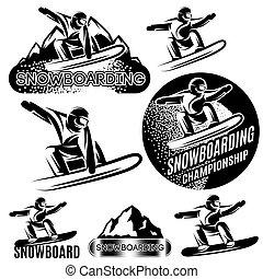 szablony, góry, komplet, śniegowy sport, wektor, różny, snowboarders, tło, monochromia