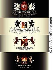szablony, komplet, handlowy, restauracyjny jadłospis, butik, etykiety, logotype, zbiór, znak, królewskość, luksus, rocznik wina, identyczność