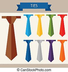 szablony, płaski, barwny, twój, projektować, krawaty, style.