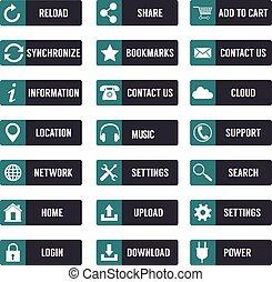 szablony, płaski, elementy, pikolak, icons., website., projektować, sieć