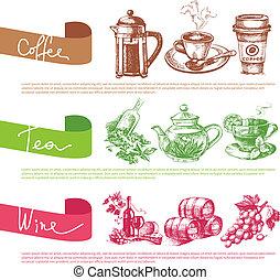 szablony, rys, komplet, kawa, herbata, wektor, projektować, menu, wino, illustrations.