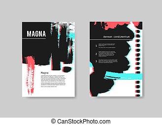 szablony, stereo, komplet, barwiony, abstrakcyjny, ręka, effect., wektor, projektować, artystyczny, tło, lotnicy, pociągnięty