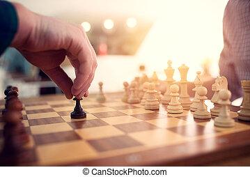 szachy, tactic., strategia, game., handlowy, gra, biznesmen, pojęcie