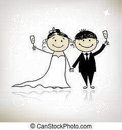 szambelan królewski, twój, ślub, -, ceremonia, razem, projektować, panna młoda