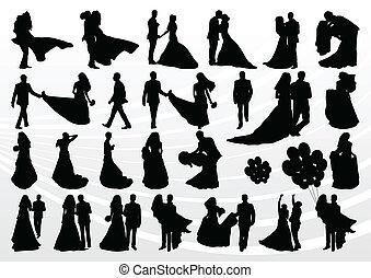 szambelan królewski, zbiór, panna młoda, sylwetka, ilustracja, ślub