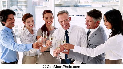 szampan, świętując, drużyna