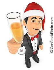 szampan, smoking, 3d, szkło, toasting, człowiek